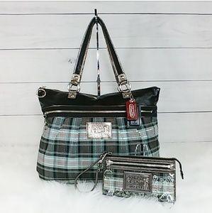 Coach Poppy Tartan Glam Bag and Wallet